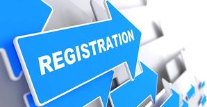 "Registration. Blue Arrow with ""Registration"" Slogan on a Grey Background."